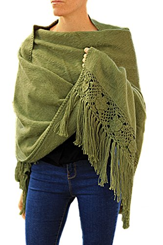 TINKUY PERU - Peruvian Alpaca Wool - Women's Crochet Hand - Knitted Flowers Pashmina Shawl Wrap (Olive Green)