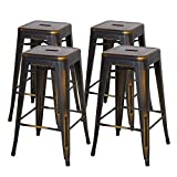 Cheap New Pacific Direct Metropolis Metal Backless Counter Stool 26″,Distressed Copper Brown,Set of 4