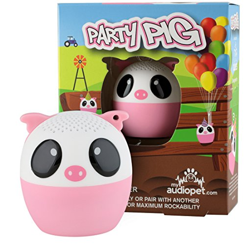 My Audio Pet Pig Mini Bluetooth Animal Wireless Speaker for Kids of All Ages - True Wireless Stereo Technology - Pair with Another TWS Pet for Powerful Rich Room-Filling Sound - (Party Pig)