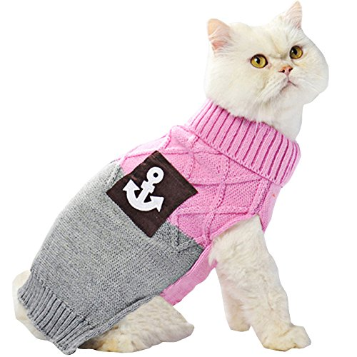 Bolbove Pet Anchor Sailor & Pocket Turtleneck Sweater for Small Dogs & Cats Knitwear (Pink, (Cats In Outfits)