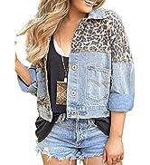 AlvaQ Women Vintage Long Sleeves Button Down Fitted Denim Jean Outwear Jackets