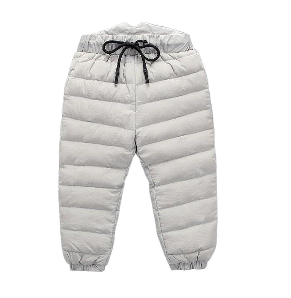 Unisex Baby Boys Girls Winter Snow Pants Kids Skiing Down Pants Waterproof Trousers Windproof