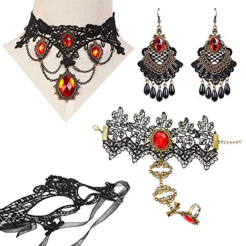 Lolita Jewelry (3 kiss Jewelry Elegant Vintage Princess Style Red or Black Choker Beads Chain Pendant Necklace for Women with Lace Lolita Charm Bracelets Earrings Mask (G Red 4))