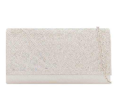 Diamante Envelope Purse Bag Handbag Women's Designer Evening Silver KY2207 Satin Clutch Ladies YqwST7