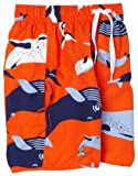 Wes and Willy Little Boys' Whales Swim Trunk, Bright Orange, 4