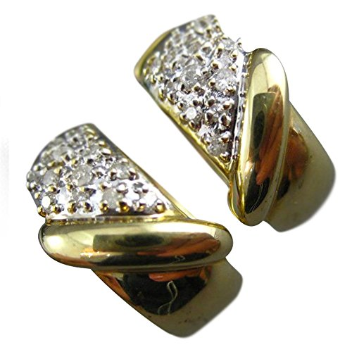 .30CT DIAMOND 14KT TWO TONE GOLD 3D CLASSIC PAVE CLUSTER EARRINGS #21221 14kt 2 Tone Diamond Earrings