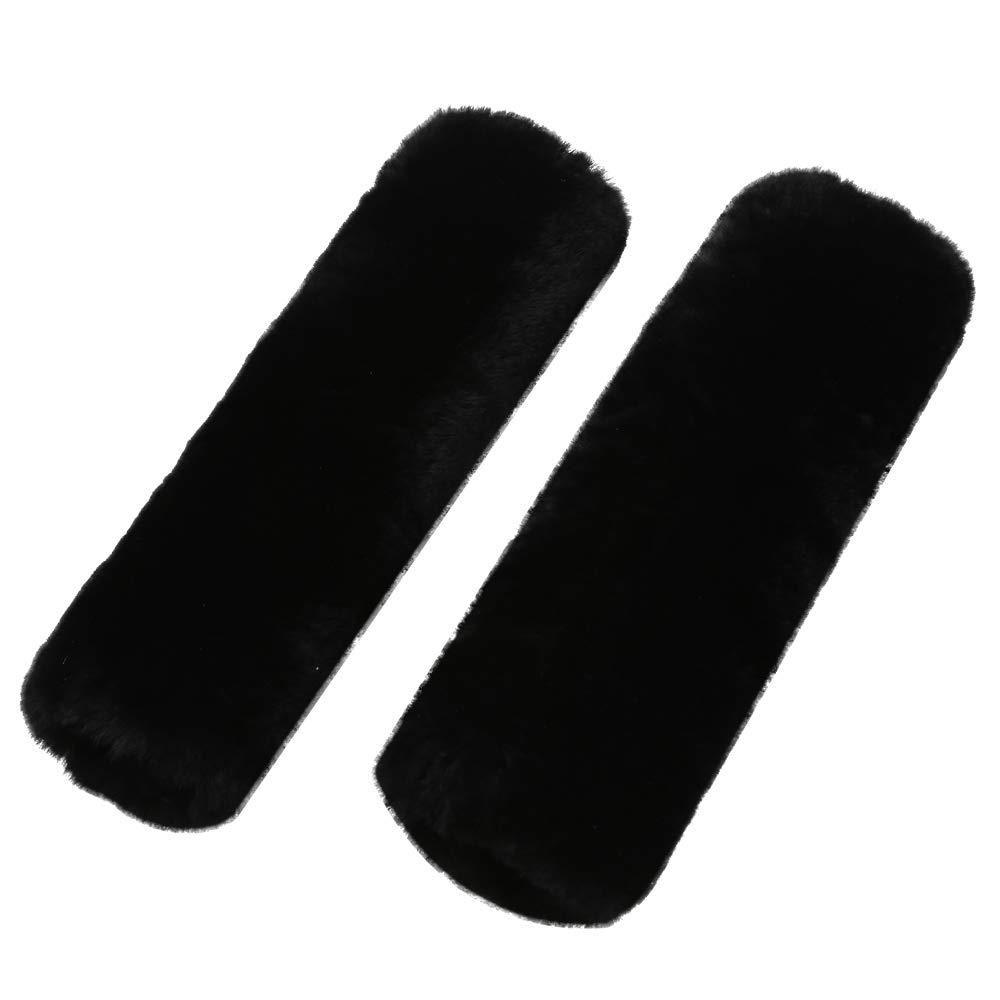 ocuS 2pcs Auto Seat Belt Shoulder Pad Soft High Densed Real Sheepskin Wool Car Seat Backpack Luggage Strap Cushion Gray