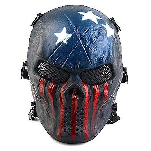 Full Face Airsoft Mask with Metal Mesh Eye Protection, for Tactical CS Survival Games, Paintball BBS Shooting, Masquerade Halloween Cosplay, Movie Props, Zombie Scary Skeleton Masks -