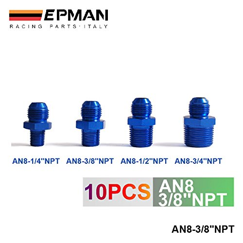 (EPMAN AN8 -8 AN to 3/8'' NPT Straight Adapter Pipe Fuel Oil Air Fitting Adapter (Blue, Pack Of 10))