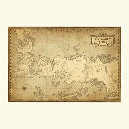 (Game of Thrones Map of The Know World Poster Print Wall Decor 24x36 Inches Photo Paper Material Unframed)
