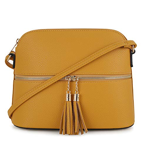 SG SUGU Lightweight Medium Dome Crossbody Bag with Tassel | Zipper Pocket | Adjustable Strap ()
