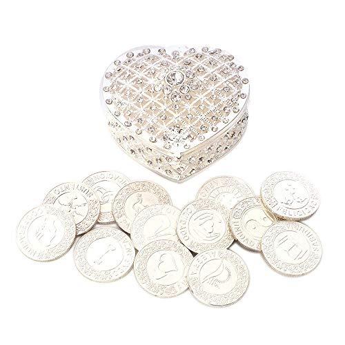 Silver Coin Shaped (TINGKU Spanish Silver Wedding Unity Coins Set Arras de Boda Wedding Arras Coins Ceremony Souvenirs Accessories with Heart Shaped Box)