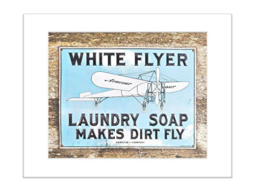 Laundry Room Decor Retro Advertisement 5x7 Inch Matted Photo White Flyer Soap (Photo Soap)