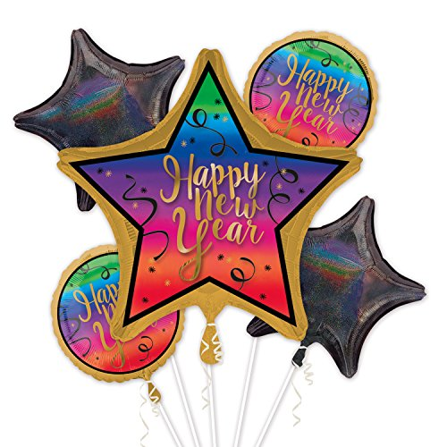 Amscan International 3425101 Colourful New Year Foil Balloon Bouquet (Colourful Bouquet)