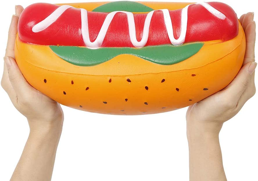 Anboor 10.5 Inches Jumbo Squishies Hot Dog Kawaii Scented Soft Slow Rising Giant Squeeze Food Squishies Stress Relief Kids Toy