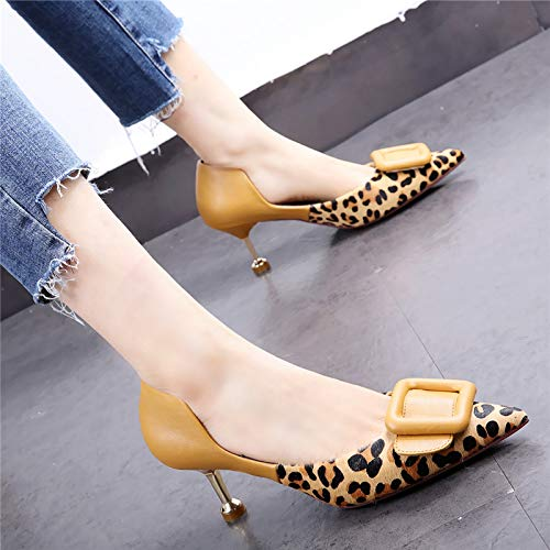 HOESCZS 7cm Schuhe Schuhe Schuhe mit mittelhohem Absatz 19 Frühlingsneue Leoparden-Stiletto-Stöckelkatze mit hohlen quadratischen Schnallen-Einzelschuhen 12cc3a