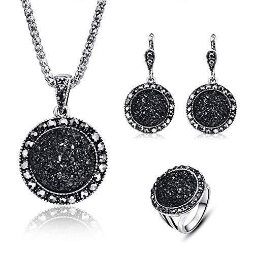 (HIIXHC 4 PCS Black Jewelry Set for Women Diamond Drusy Agate Pendant Women Necklace Earring Ring and Bracelet Wedding Jewellery)