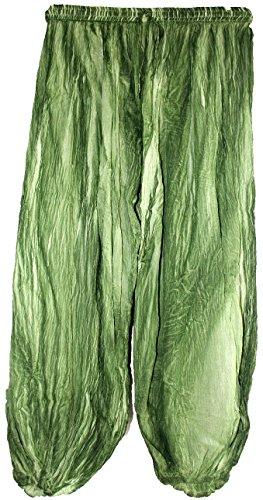 Yoga Dye Hippie Indian Crinkled Pants Gauze Cotton Pants Bohemian Gypsy Pants Hippie Boho Tie Dye Yoga Pants 2716 Green