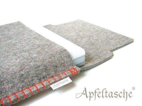 Notebooktasche APFELTASCHE 13 Zoll für Mac-Book iBook /// grau-meliert orange /// handgenäht in Berlin)