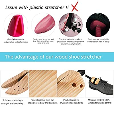 2 Way Cedar Shoe Trees For Men Wooden Shoe Stretcher,Adjustable Shaper Large Size for Men and Women, Wood Shaper Set of 2 Stretches Length & Width,Woman's Size 10 to 13.5 Man's Size 9 to 13