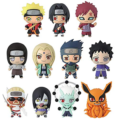 Monogram International Naruto Shippuden Animation Series 2 Mystery Character Key Ring Toy Action Figures - 2 Pack Bundle