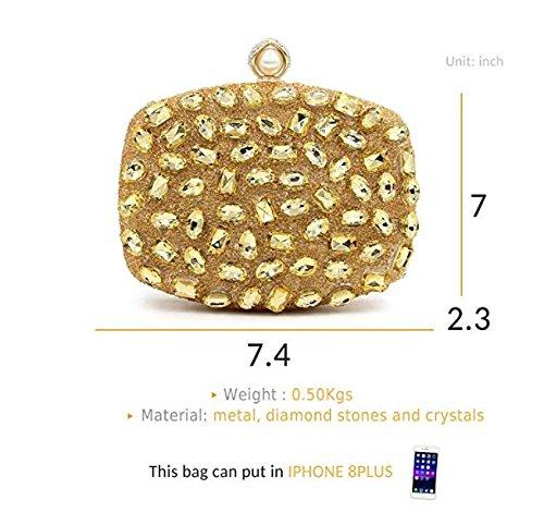 partie Sacs sac les pour mariage d'embrayage femmes sacs à NBWE à main strass Shimmer de pour soirée main à sac de de Gold main les clubs pXPS7qd
