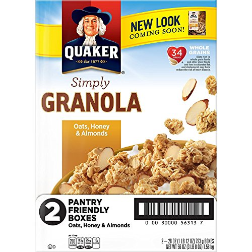 Quaker Simply Granola Oats, Honey & Almonds, Breakfast Cereal, 28 oz Boxes, Twin - Granola Cereal