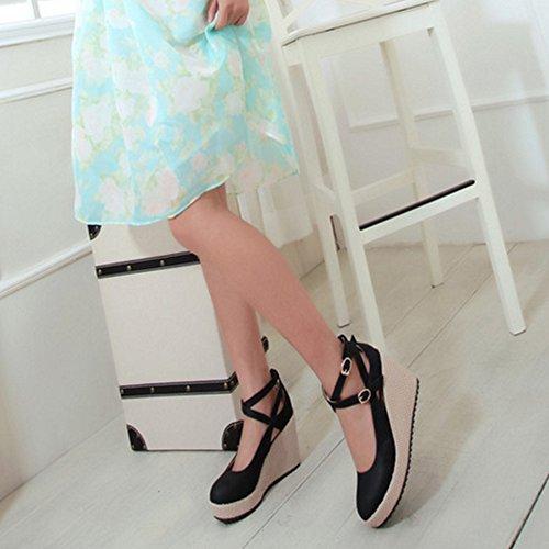 COOLCEPT Mujer Moda Criss Verano Boca Baja Zapatos Cerrado Tacon de Cuna Bombas Zapatos Negro