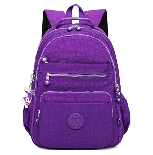 - Lightweight Laptop Backpack Purse Classic Casual Women`s Hiking Daypack Water Resistant College Multi-Pocket School Bag for Girls and Boys Work Travel Nylon Bag Monkey Pendant (Bright Purple)