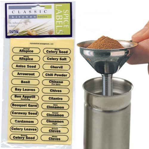 RSVP 96 pc Spice Label Set AND Stainless Steel Spice Funnel