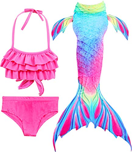 Girls 4 Pcs Swimsuits Mermaid Tails for Swimming Costume Support Monofin Princess Bikini Set Dress Up Party (5-6/Ht45-47in/Tag 120, C Upgraded Flower and Bird Pattern+Monofin)