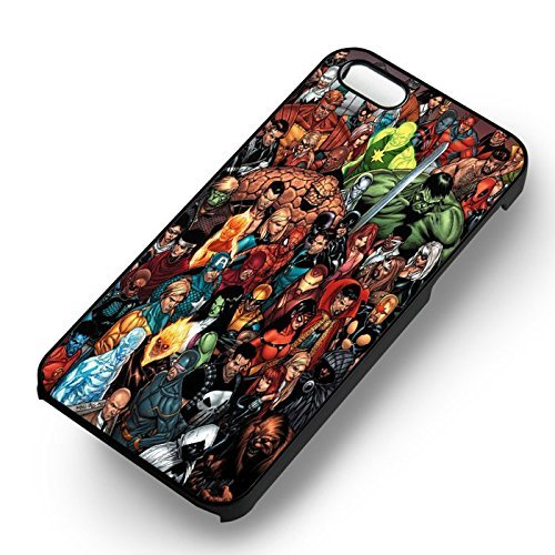 Unique Marvel Comic Charac ters pour Coque Iphone 5 or Coque Iphone 5S or Coque Iphone 5SE Case (Noir Boîtier en plastique dur) K3G1KX