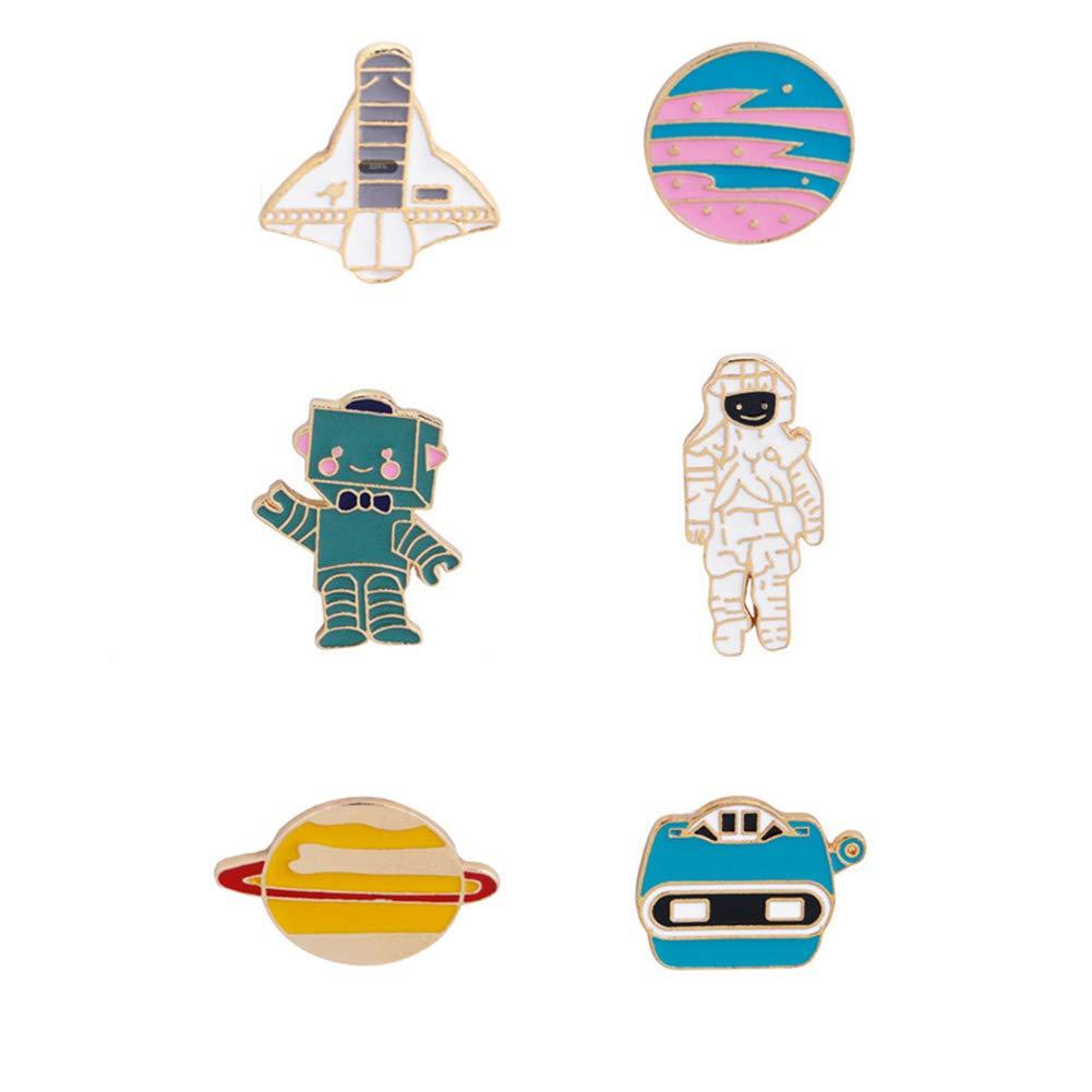 6 St/ücke Anstecknadel-Set Flugzeug-Astonaut Roboter Planet Cartoon Brosche Anstecknadel Alien Brosche Kragen Anstecknadel Anstecker f/ür Kleidung Taschen