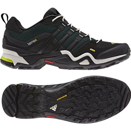 zapatos para caminar al aire libre de los hombres de adidas Terrex Fast X GTX de carbono / núcleo negro / color escarlata Negro - G97917 Vista Green / Black / Solar Slime