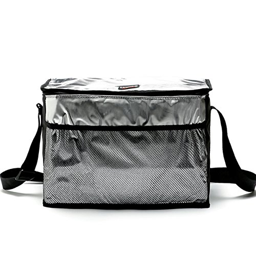 Hippih Aluminum Foil Insulated Cooler Lunch Box - Waterproof & Keep Warm Lunch Bag for Men, Women and Kids (Black Tote)