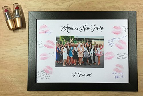 Fancy Pants Frame (Personalised Hen Party Kiss Frame Lipstick Guestbook Keepsake Game Gift for Bride by Fancy Pants Store)