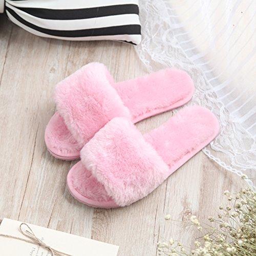 Fankou fondo piatto pantofole di cotone femmina esterno inverno indossare pantofole home incantevole autunno inverno spesso maglione anti-slittamento ,37-38, rosa