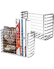 2 Pack Wall Door Mount Kitchen Wrap Organizer RackCabinet Door/Pantry Door/Wall Mount Kitchen Storage Organizer Basket
