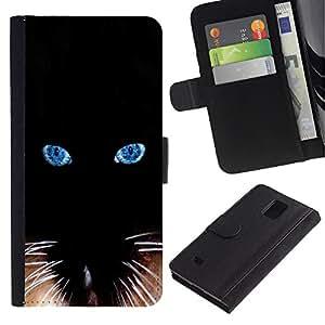 Billetera de Cuero Caso Titular de la tarjeta Carcasa Funda para Samsung Galaxy Note 4 SM-N910 / Black Siamese Cat Whiskers Eyes / STRONG