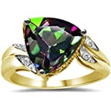 0.04 Ct Diamond & 4.01 Cts AAA Mystic Fire Topaz Ring in 14K Two Tone Gold