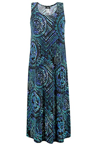Abstract Print Dress (Jostar Women's Stretchy Tank Long Dress Sleeveless Plus Print 3XL Royal Abstract)