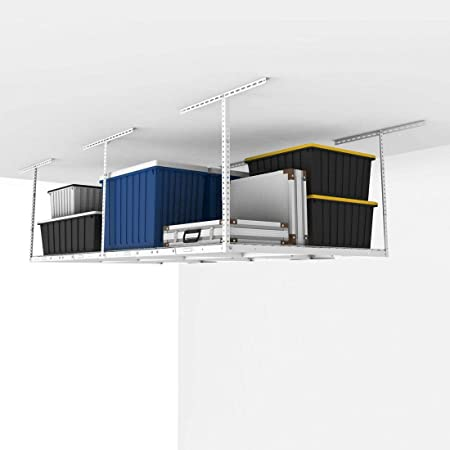 Fleximounts 4x8 Overhead Garage Storage Rack Adjustable Ceiling Storage Rack Heavy Duty, 96' Length x 48' Width x (22.5''-40' Ceiling Dropdown), White