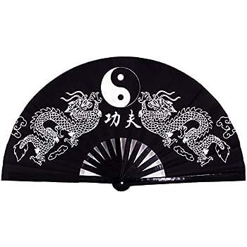 Amajiji Large Rave Folding Hand Fan for Men/Women, Chinese Japanese Kung Fu Tai Chi Handheld Fan Performance Fan Festival Gift Fan Craft Fan Folding Fan Dance Fan (Black Dragon)