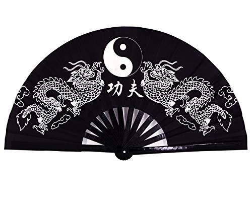 - Amajiji Large Rave Folding Hand Fan for Men/Women, Chinese Japanese Kung Fu Tai Chi Handheld Fan Performance Fan Festival Gift Fan Craft Fan Folding Fan Dance Fan (Black Dragon)