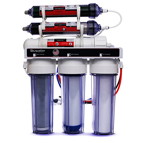 LiquaGen Portable - 6 Stage Dual Use (Drinking & 0 PPM Aquarium Reef/Deionization) Reverse Osmosis Water System (RO/DI) w/ pH Alkaline Mineral Restoration Filter (75 GPD) from LiquaGen Water Technology