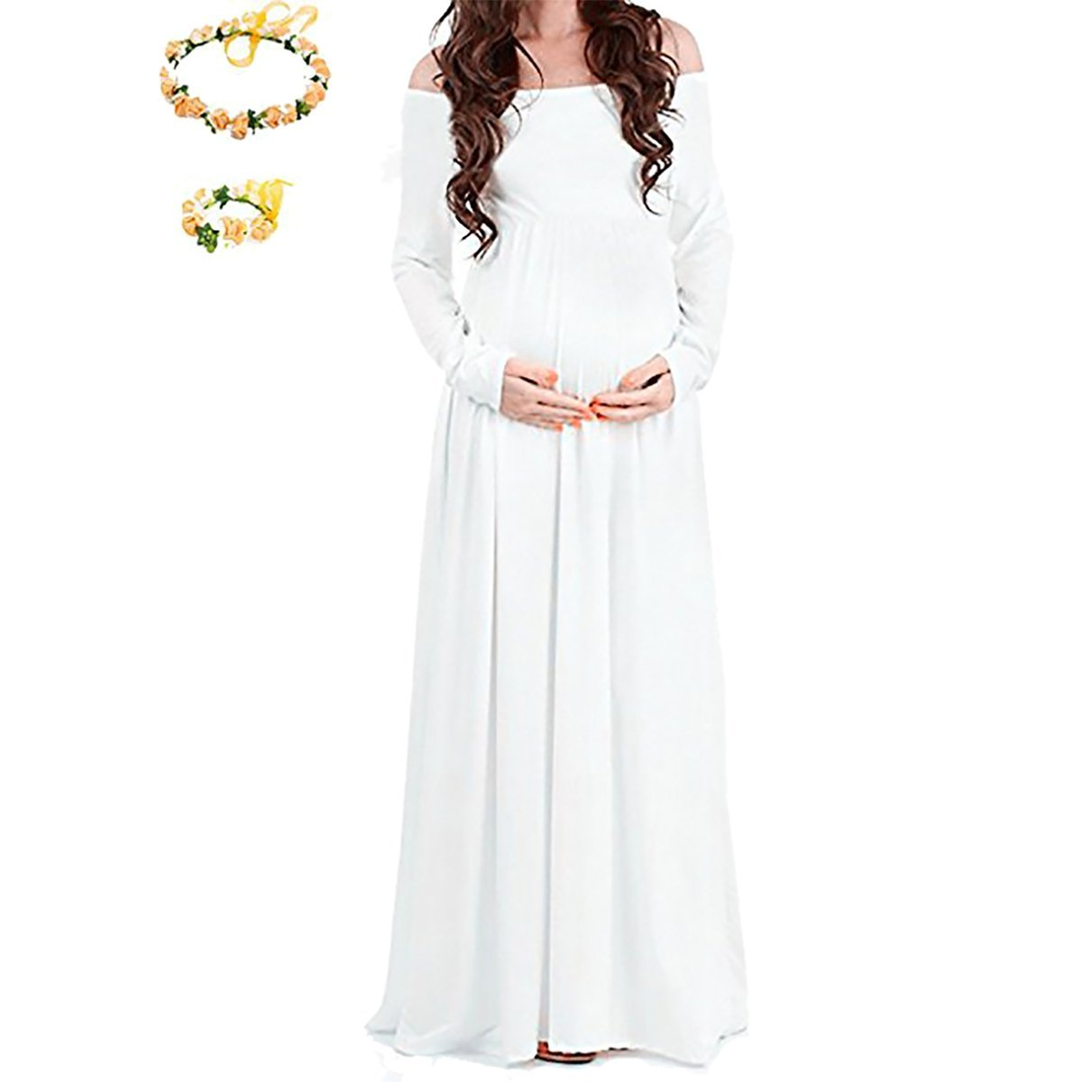 SICILY Maternity Grace Off The Shoulder Maxi Dress For Photo Shoot-Long Sleeve Baby Shower Gown (XXL, White)