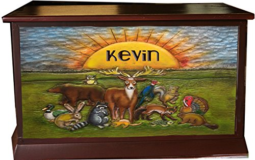 Children's Personalized Toy Box with carved Wildlife art