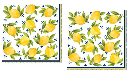 40 Le Cadeaux Lemon Paper Napkins | Disposable Dinner Paper Napkin Set | Tuscan Leaves and Floral Themed with Shades of Yellow, Blue, White