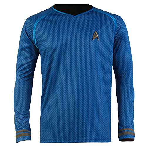 [CosplaySky Star Trek Into Darkness Spock Shirt Uniform Costume Blue Version Medium] (Star Trek Uniform Shirts)