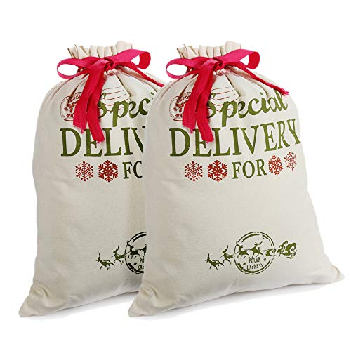 2 Pack Santa Sacks Personalized Canvas Bags Small Medium with Red Drawstring for Xmas Stockings Stuffers Presents Holder & Party Decorations for Kids (18.9'' X 14.4'')